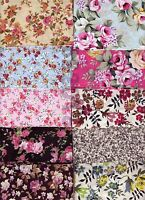 Fat Quarter Single Floral designs 100% Cotton Fabric Quilting Choose by colour