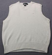 RALPH LAUREN POLO Mens White w White Pony Linen Knit V-Neck Sweater Vest L