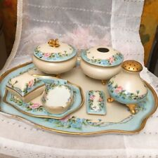 New ListingAntique Limoges Hand Painted Blue Pink Vanity Dresser Tray Set 8 Pieces Signed