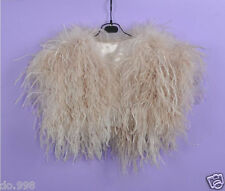 Real Hairy Ostrich Feather Furry Fur Coat Jacket Bolero Bridal Size S M L