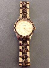 Guess Gold Tone Leopard Print Sparkling Ladies Watch U0014L2