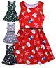 Girls Christmas Dress New Kids Sleeveless Skater Party Xmas Dresses 7 - 13 Years