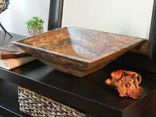 Bathroom Vessel Sink Basin Natural Red Travertine Stone Marble Modern vanity