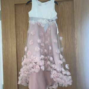 Monsoon Girl Occasion Dress Dusky Pink With Flower Size 5years
