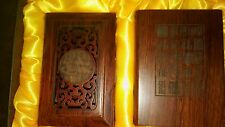 Wood Tones Business Card Holder and Pen'Pencil Holder Super Ornate in Gift Box!
