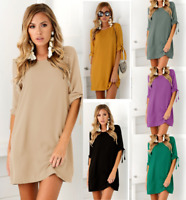 Womens Daily Tops Party Holiday Loose Home UK Baggy Holiday Short Mini Dresses