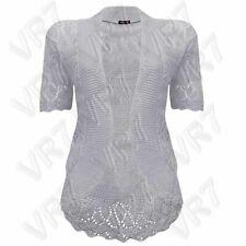 Women Bolero Shrug Lace Knit Sheer Cardigan Waist Length Short Sleeve 8-30