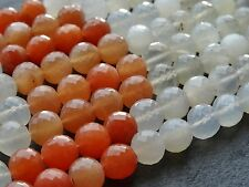 "HAND FACETED MOONSTONE ROUNDS, approx 8mm, 9"", 30+ beads"