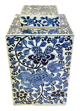 Beautiful Blue and White Floral Foo Dog Porcelain Square Tea Caddy 12""