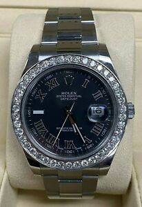 ROLEX Oyster Perpetual Datejust Diamond Bezel Black Dial Women's Watch w/ Box