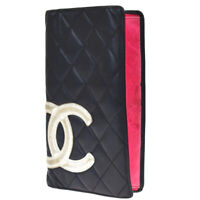 Auth CHANEL CC Logo Cambon Long Bifold Wallet Purse Leather Black Pink 01JC409