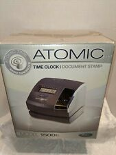 Lathem Atomic Time Clock 1500e With Power Adapter Key And Time Cards