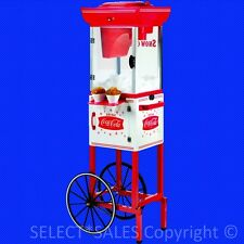 Coca Cola Snow Cone Maker w/ Matching Trolley Cart - Electric Ice Shaver Machine