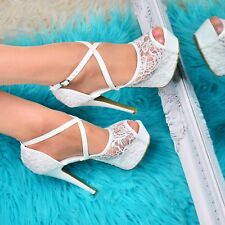 Ladies Stiletto Platform HEELS Strappy Open Toe Sandals Lace Embellished Shoes UK 5 / EU 38 / US 7 White