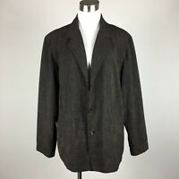 Chicos Blazer Jacket Size 3 Brown Texture Weave 3 Button Silk Asian Print Lining