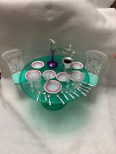 Pretend Play Doll House Furniture Green Dining Table Chairs Dinner Wear Kitchen