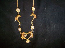 VINTAGE 18k GOLD 15 INCH DOLPHIN AND PEARL WOMANS NECKLACE 8.44 PEARL .750 GOLD