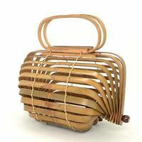 Handmade Bamboo Women Cage Handbag Tote Semi circle Basket Summer Large
