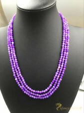 Natural 4mm Fashion Purple Faceted Alexandrite Round Gemstone Necklace17-19''AAA