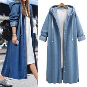 Women Oversized Hoodies Long Denim Jacket Coat Hooded Jeans Casual Tops Outwear