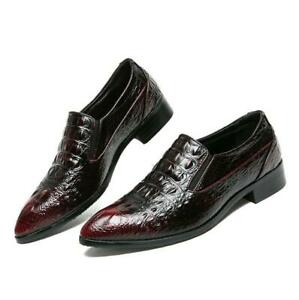 Mens Leather Shoes Alligator Pattern Pointy Toe Dress Loafer Fashion Shoes New Y