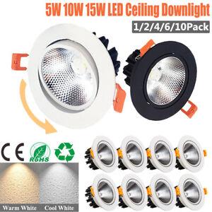 Super Bright LED COB Ceiling Lamp Downlight Spotlight Recessed Light 5W 10W 15W