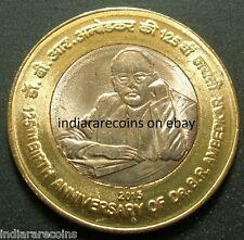 India Bimetal Bimetallic Ambedkar Civil Rights Constitution UNC New 2015 10 Rs