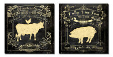 """Chalkboard-Style Kitchen Art; Chicken, Cow and Pig, 2-12x12"""" Poster Prints"""