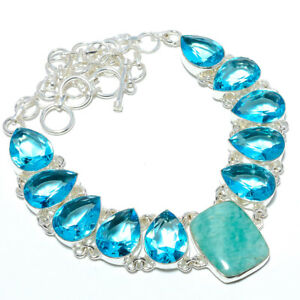 """Amazonite - Russia & Blue Topaz 925 Sterling Silver Necklace 17.99"""" N1585-32"""