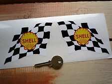 "SHELL Chequered Flag Classic Race Car Stickers 4"" Pair 60's Lotus F1 BRM Ferrari"