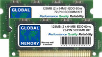 128MB (2 x 64MB) 60ns 72-PIN EDO SODIMM MEMORY RAM KIT FOR LAPTOPS/NOTEBOOKS