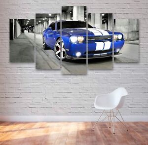Large Dodge Challenger Muscle Car 5 Panel Canvas, Wall Art, Picture, Print #007