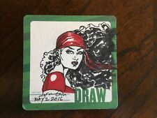 JOYCE CHIN original ELEKTRA sketch on Hero Initiative coaster