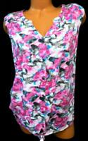 New directions multi color abstract women's plus size button up sleevless top 2X