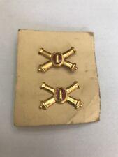 WW2 Coast Artillery Officer Insignia On Orig Card