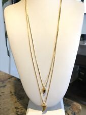 """Vince Camuto Mayan Metals Double Horn 2 Strand Gold Tone Chain Necklace 20"""""""