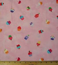 Cupcakes Sweet Things Pink Lakehouse Dry Goods desserts Cotton Fabric By Yard