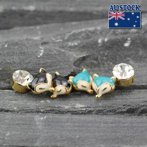 Unique 18K Gold Plated Cute Little Fox 6MM Crystal Stud Earrings Set Lovely