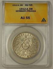 1912-A Germany-Prussia Three Mark Silver Coin 3m AU-55