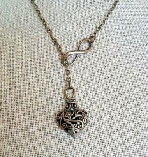 Infinity Love Heart Charm Bronze Tone Lariat Style Necklace