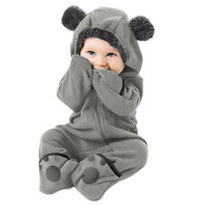 Winter Newborn Baby Boys girls Fleece Jumpsuit Hooded Romper Warm Coat Outwear