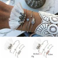 4Pcs Punk Multilayer Chain Pineapple Shell Bracelet Women Bangle Jewelry Set