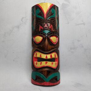 Tiki Mask Wall Hanging Hand Painted 30cm Man Cave Garden Bar