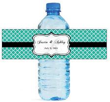 "100 Teal Pattern Monogram Wedding Water Bottle Labels Engagement Bridal 8""x2"""