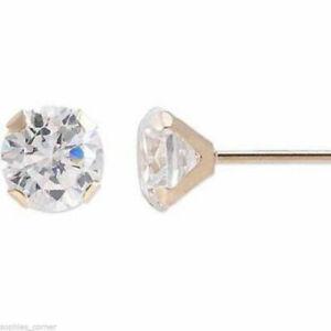 Genuine Round Diamond Stud Screw Back Earrings in 10k YG