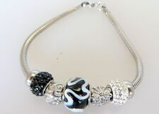 Women's Stainless Steel Charm Bracelet With Crystals Black & White  8 Inches
