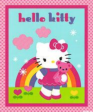 HELLO KITTY FABRIC PANEL BABY QUILT top HELLO KITTY& TEDDY FABRIC RAINBOW NEW