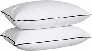 800TC Virgin Hollowfiber Filled Single Piping Edges White Pillows Pack Of 2