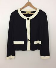 St. John Jeans Cardigan With Big Statement Buttons, Black & Cream, Size 14