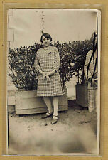 Carte Photo vintage card RPPC Creuse Saint Vaury femme robe mode fashion pz0165